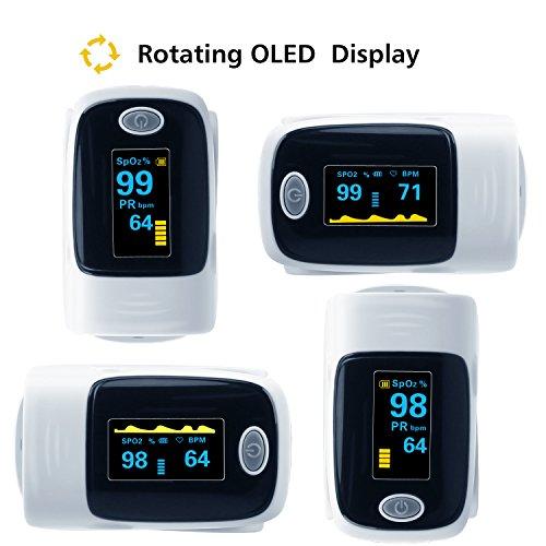 Finger Pulse Oximeter, URBEST Portable Pulse Oximeter Instant Read Digital Display Fingertip Oxygen and Pulse Sensor with Alarm SPO2 for Home, Hospital (Grey) by URBEST (Image #3)