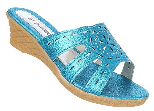 Kinder-Schuhe Sandalen | luftige Sommerschuhe mit Verzierung in verschiedenen Farben und Größen | Schuhcity24 | Glitzer Pantoletten mit 4,5 cm Keilabsatz Blau
