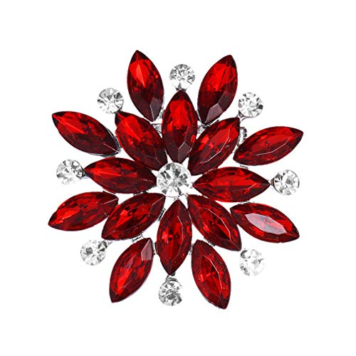 DARLING HER Crystal and Rhinestones Sparkling Flower Brooch Pins for Women in Assorted Colors red and Silver ()
