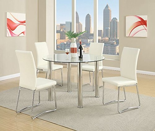 Poundex F2200 Nella Tempered Glass Top/Stainless Steel Legs Dining Table, Multicolor
