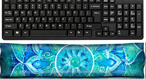 - Liili Keyboard Wrist Rest Pad Office Decor Wrist Supporter Pillow abstract blue painted picture with circle pattern mandala of vishuddha chakra IMAGE ID 9407649