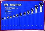 King T. 12212MR Kit di chiavi a cricchetto miste metriche, Set di 12