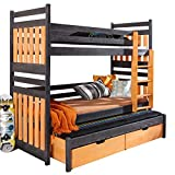 Ye Perfect Choice Triple BUNK BED Sambor Modern High Bed DRAWERS Ladder 3 Children TRUNDLE Bed Pine Wood 2 sizes (Right Hand Side, UK Single Standard)