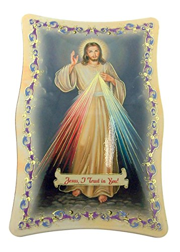 Plaque Wall Divine - Gold Embossed Divine Mercy Icon Plaque with Easel Stand, 5 3/4 Inch