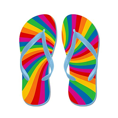 Cafepress Regenboog Twist Stripes - Flip Flops, Grappige String Sandalen, Strand Sandalen Caribbean Blue
