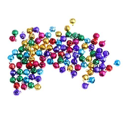 Homyl 100 Piezas Mini Cascabeles Campanas de Artesanía de Navidad para Decoración de Fiesta 6/8/10mm - 6 mm