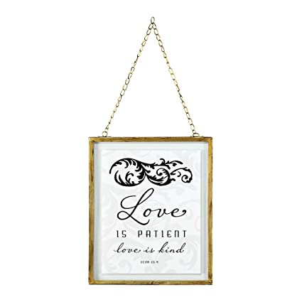 Amazon.com: Love is Patient Love is Kind 10 x 8 Framed Glass Wall ...