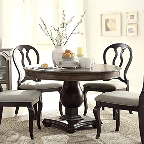 Riverside Furniture Belmeade Round Dining Table in Oak and Black - 48 Round Pedestal Dining Table