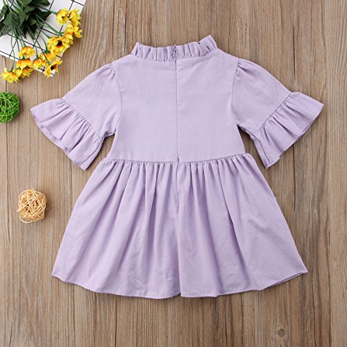 Mubineo Toddler Infant Baby Girl Summer Cute Ruffle Neck Bell Short Sleeve Tutu Dress