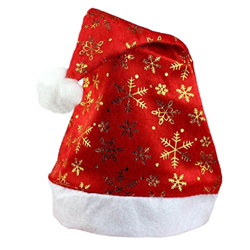 Tenworld Gifts Red Christmas Hat Merry Xmas Santa Claus Cap For Adult (Gold) (Santa Claus Cap)