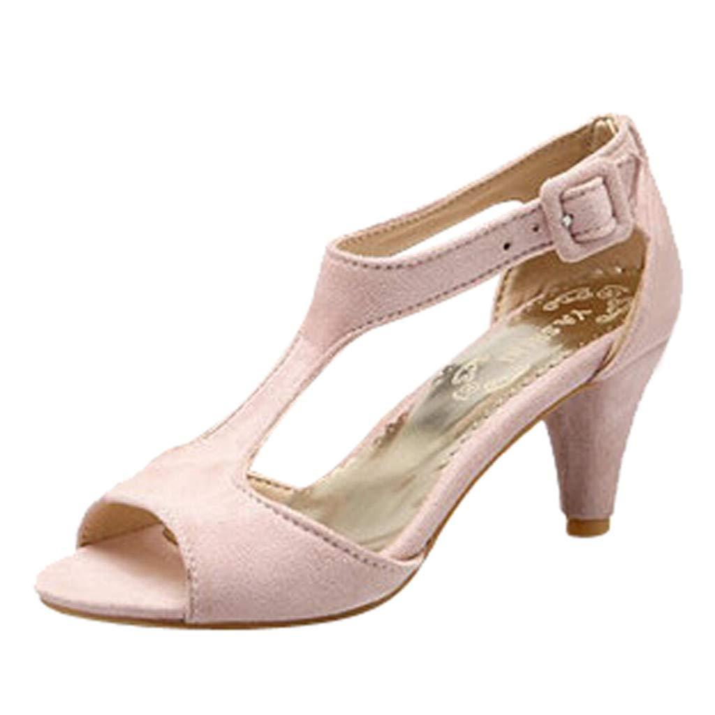 Shusuen Women's Open Ankle Toe Double Buckle Strappy Heeled Sandals Pink