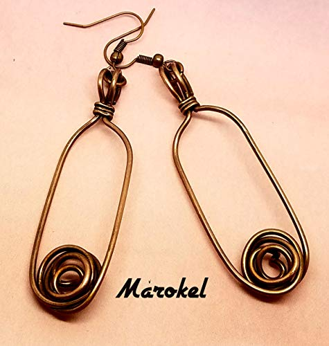 Rosette Oval Copper Wire Earrings Abstract