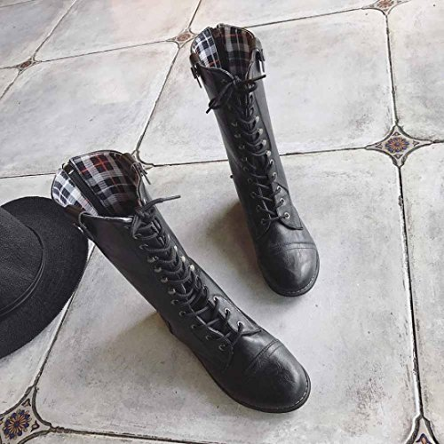 Momola Women Leather Lace-up Platform Boot Outdoor Cowboy High Boot Riding Boots Ski Flat Heel Casual Shoes Black Xh5sWFXwuG