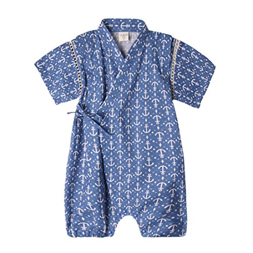 PAUBOLI Japanese Kimono Style Baby Rompers Bathrobe Pajamas Infant Cotton Comfy Loose Bodysuit (9-18 Months, 03)]()