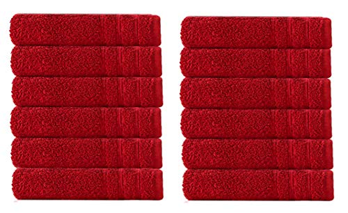 Cotton Craft - Super Zero Twist 12 Pack Washcloth Set 13x13 - Cassis - 7 Star Hotel Collection Beyond Luxury Softer Than A Cloud - 100% Pure Super Zero Twist Cotton