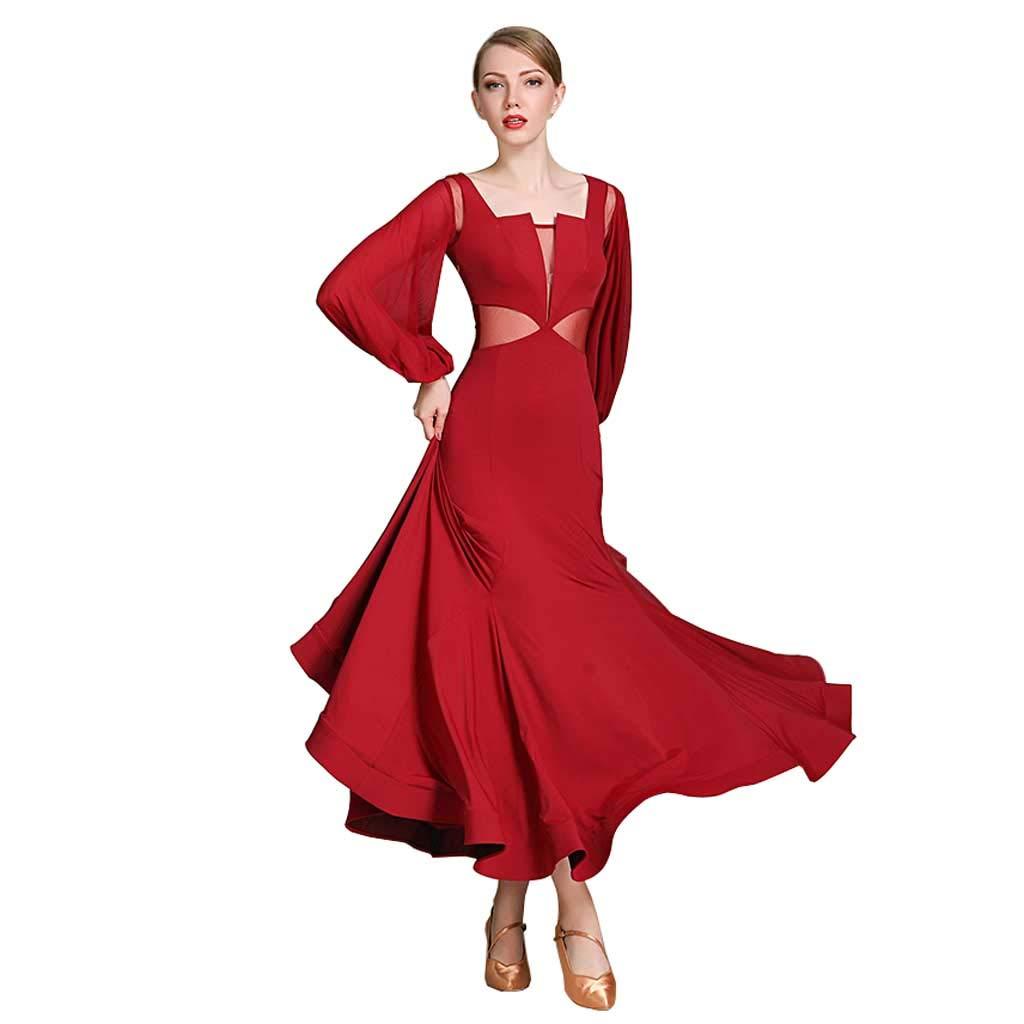 ランタン長袖モダンダンスドレスドレス、大人の女性のボールルームのダンスドレス B07HMXKVLZ XXL|ワインレッド ワインレッド XXL