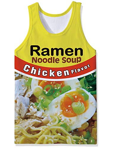 SKYRAINBOW Tank Top Stylish Sport Gym Tees Athletic Training Vest Novelty Chicken Ramen Noodle Soup Printed Sleeveless Garment for Men