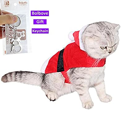 Bolbove Pet Christmas Santa Claus Suit Costume with Hat for Cats Puppies