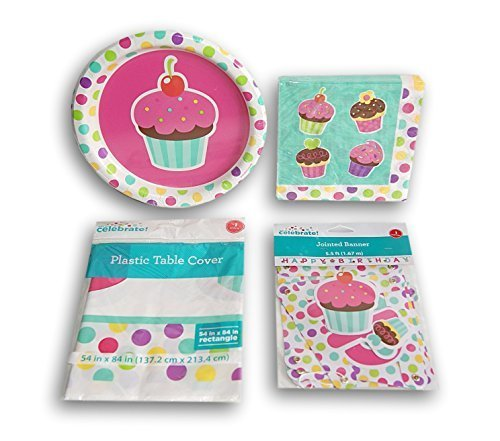 (Girls' Pretty Cupcake Party Supply Kit - Plates, Napkins, Banner, and Table Cover by)