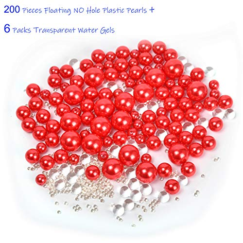 Z-synka Assorted Plastic Bead Pearls,200Piece Sale Floating NO Hole Plastic Pearls + Includes 6Pack Transparent Water Gels for Floating The Pearls,Wedding,Birthday Party Home Decoration,etc,Red