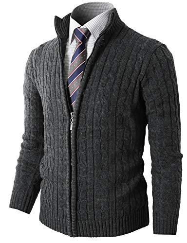 H2H Mens Slim Fit Full-Zip Kintted Cardigan Sweaters with Twist Patterned Gray US S/Asia M (KMOCAL032)
