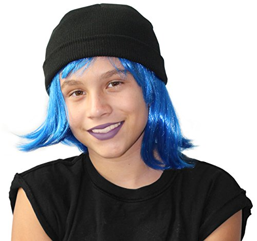 Rule Breaker Emoji Costume Set With Blue Wig and Hat Jailbreak Style Costume