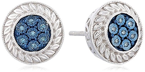 Sterling Silver Blue Diamond Accent Round Stud ()