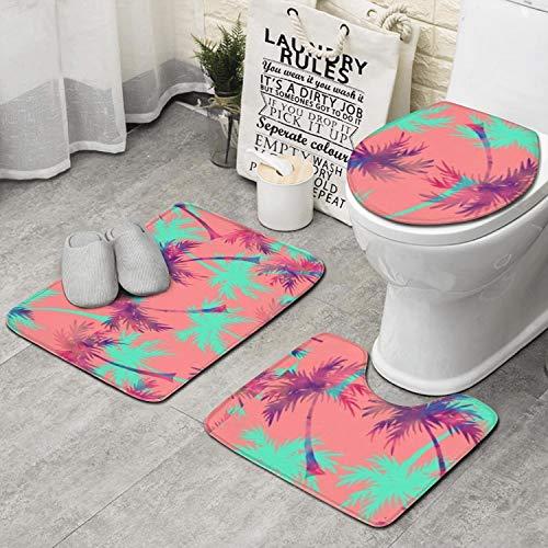 JWOJJUAW U-Shape Contour 3pcs/Set Palm Tree Toilet Cover Mat Non-Slip Soft Microfiber Memory Foam Bathroom Rug Shower Carpet