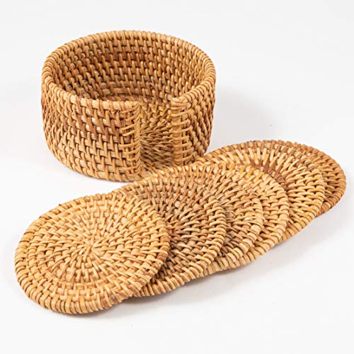 - Rattan Coasters Set of 6 With Holder, Teacup coasters, Gift Boxed