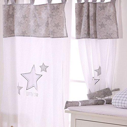 Grey Little Star Crib Bedding Accessory - Window Curtain by Blancho