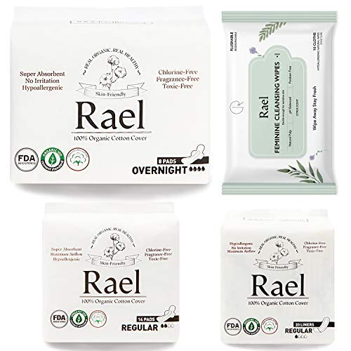 Pad Value Pack - Rael Organic Pads Value Packs-Organic Cotton Regular Pads, Overnight Pads, Regular Liners and Natural Feminine Wipes by Rael (Overnight Set)