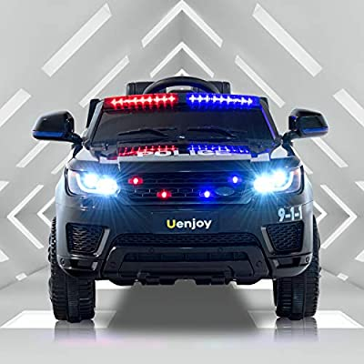 Uenjoy 12V Kids Police Ride On SUV Battery Operated Electric Cars w/2.4G Remote Control, LED Siren Flashing Light, Music&Horn Intercom, Bumper Guard, Openable Doors, AUX, USB Port, Bluetooth, Black: Toys & Games
