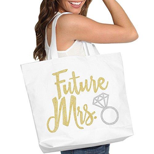 Future Mrs. Diamond Gold Rhinestud Tote Bag - Bridal Shower Gift & Accessories Bride Tote - White Tote(DFutMrs Gld) Wht