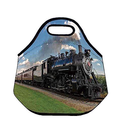 Steam Engine Lightweight Neoprene Lunch Bag,Vintage Locomotive in Countryside Scenery Green Grass Puff Train Picture for Kids Nurse Teacher Outdoor,Throw(11.8''L x 6.3''W x 11''H) ()