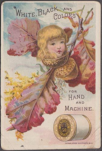(J & P Coats Best Six Cord Thread trade card 1880s girl's head in acorn)