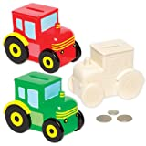 Tractor Ceramic Coin Banks for Children to Paint Decorate and Display - Creative Porcelain Craft Set for Kids (Box of 2)