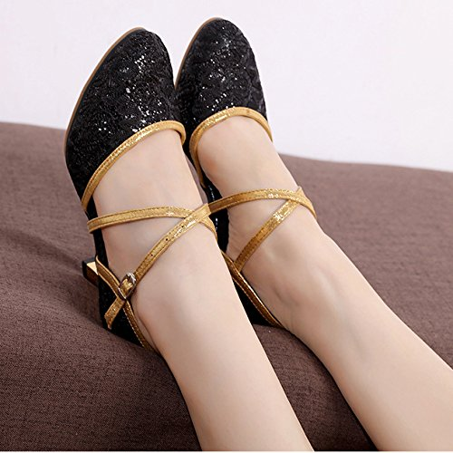 Dancing Outdoor Ballroom Glitter Women's Lace GIY Adult Morden Tango Sandals Heel Salsa Black Shoes Latin Dance OFqnSfvw