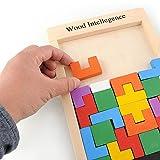Geekercity Wooden Tangram Brain Jigsaw Tetris Teaser Puzzle Toys Tetris Game Educational Kid Toy [40 PCS]