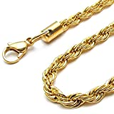"5mm BOHG Jewelry Mens Fashion Stainless Steel Cord Necklace Link Rope Chain 23"" Inch Gold Or Silver"