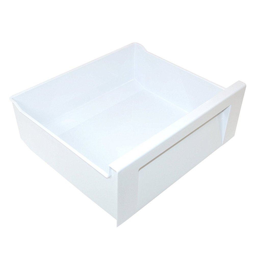 SPARES2GO White Plastic Drawer Basket for Whirlpool Fridge Freezer