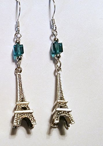 Eiffel Tower Antiqued Silverplate Finish Indicolite AB Swarovski Crystal - Drop Earrings