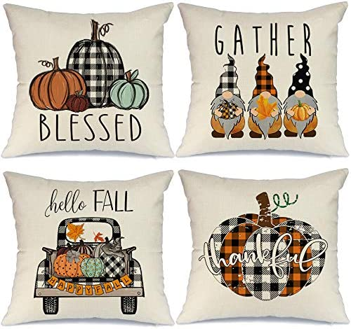Aeney Fall Pillow Covers 18x18 Set Of 4 For Fall Decor Farmhouse Thanksgiving Buffalo Check Plaid Gnomes Pumpkin Outdoor Fall Pillows Decorative Throw Pillows Autumn Cushion Cases For Couch 1015bz18 Home