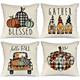 AENEY Fall Pillow Covers 16x16 Set of 4 for Fall Decor Farmhouse Thanksgiving Buffalo Check Plaid Gnomes Pumpkin Outdoor…