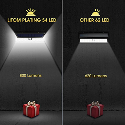 LITOM Solar Lights Outdoor, 54 LED Super Bright 270°Wide Angle Motion Sensor Lights, Wireless Waterproof Security Solar Light for Front Door, Yard, Garage, Deck, Porch, Shed, Walkway, Fence (2 Pack) by Litom (Image #3)