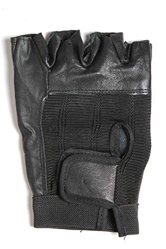 Spandex Unisex Glove (Leather and Spandex Fingerless Biking Gloves, Padded Palms weightlifting Gloves (Black, 2X))