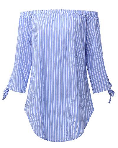 Haut Col Lace Tops Bleu Casual Nue Epaule Coton Bustier Shirt Rayur Manches Blouse Longues Clair StyleDome Femme Bateau Chemise IwxPFFZS
