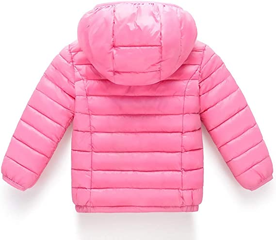 Franterd Winter Coat Little Boys Girls Floral Lightweight Warm Jacket Windproof Zipper Pockets Hooded Coats