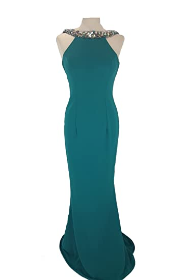 a1f512b72be9e7 Pia Michi 1221 Teal with Silver Bead Detail Long Gown UK 12 (US 8 ...