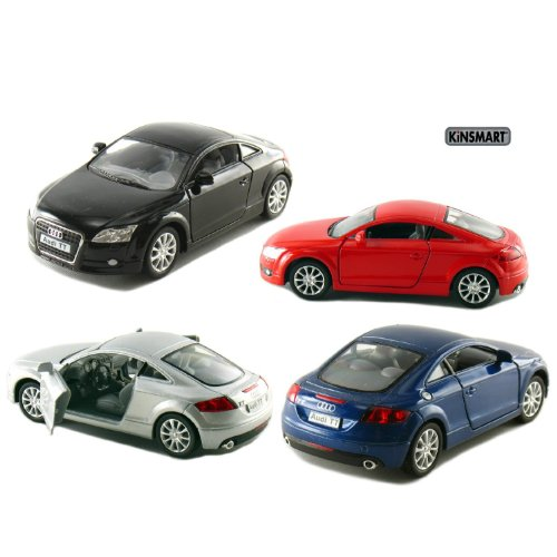 set-of-4-5-2008-audi-tt-coupe-132-scale-black-blue-red-silver-by-kinsmart