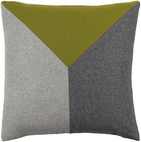 """Surya Jonah Poly Fill 18"""" Square Pillow in Green and Gray"""